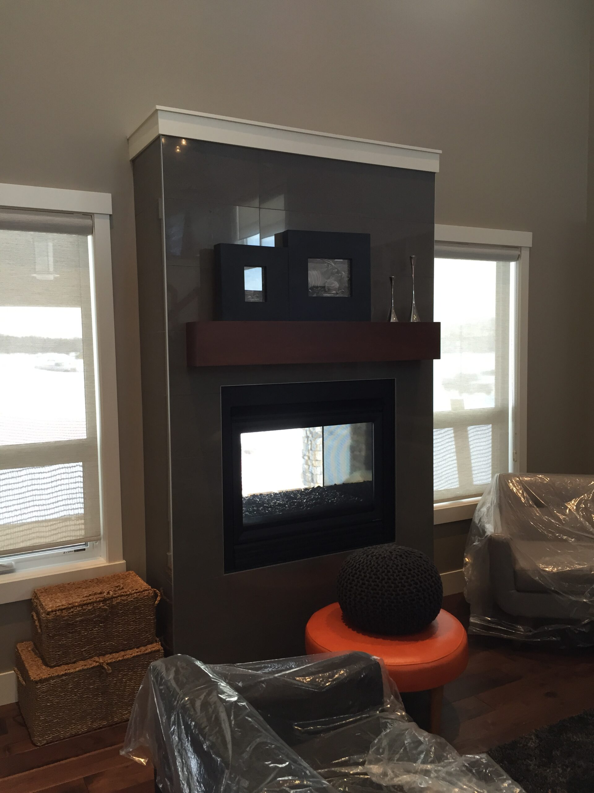 Fireplace in a New Home in Edmonton